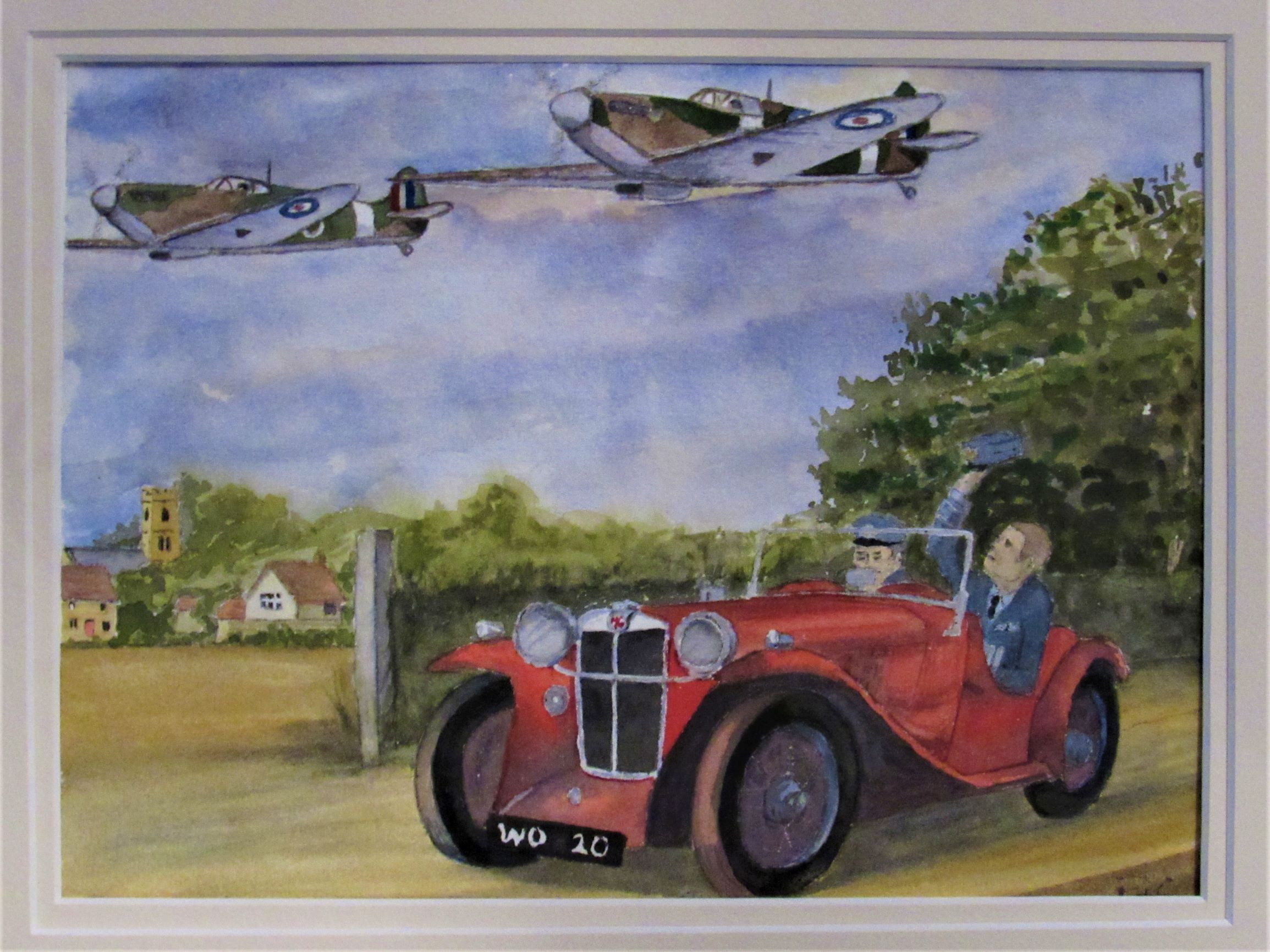 Watercolour Painting of Two Spitfires flying over a red MG/